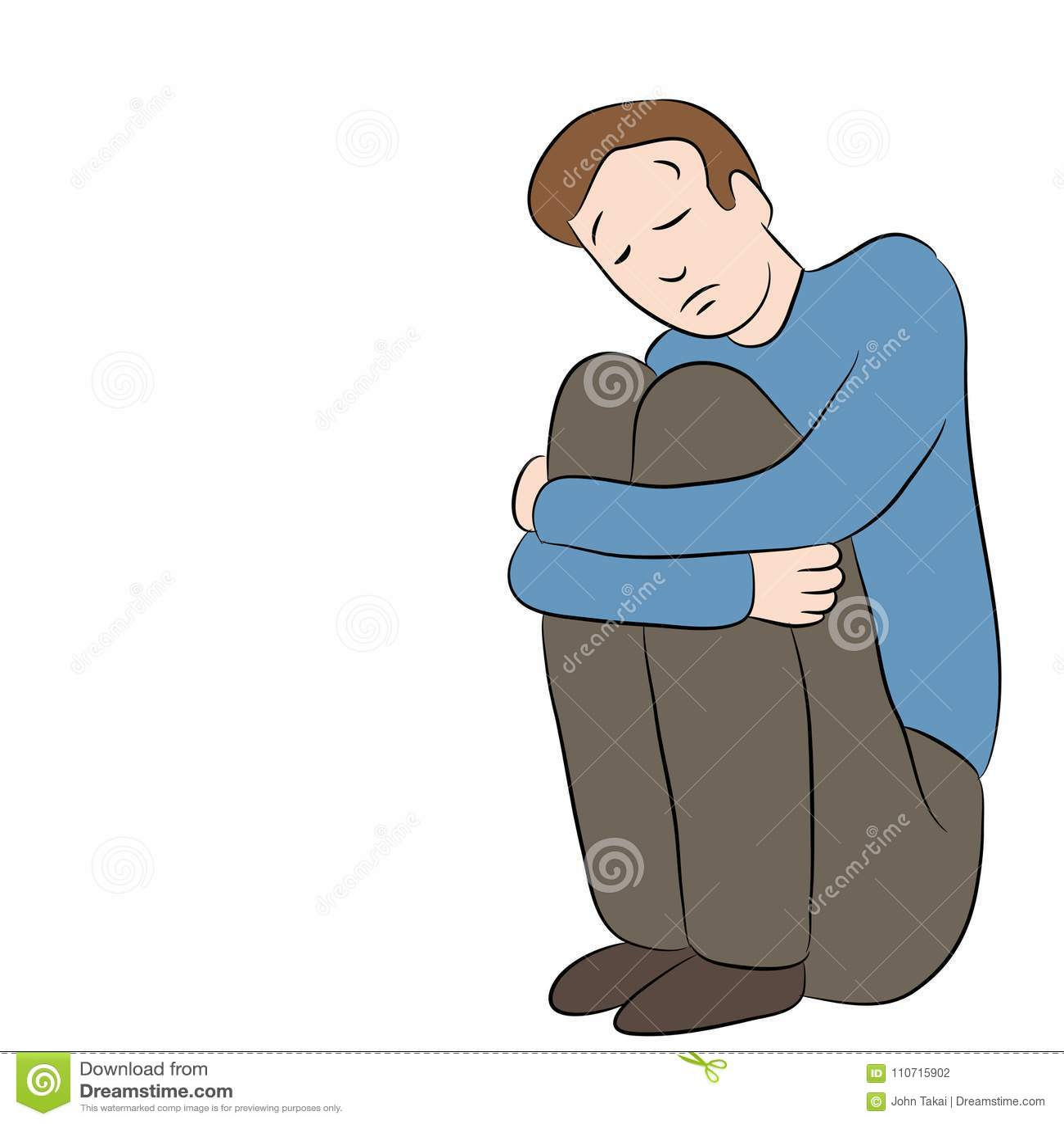 Depressed Sad Lonely Man Sitting Stock Vector Illustration Of Cartoon Clip 110715902