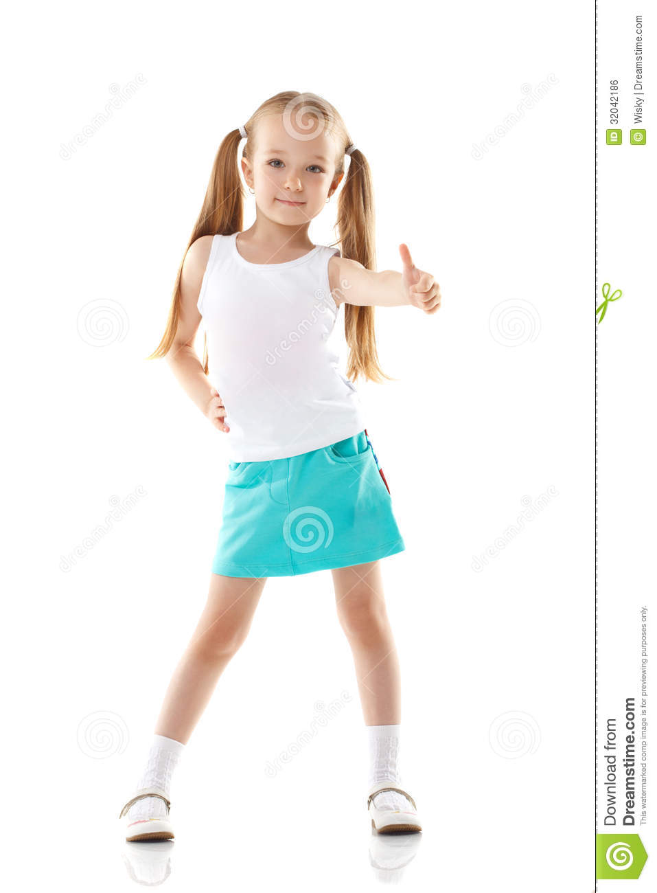 Image of charming little girl showing thumbs up
