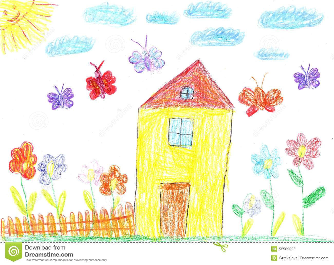 The image of the child drawing of a house stock photo image 52589096 - Houses for families withchild ...