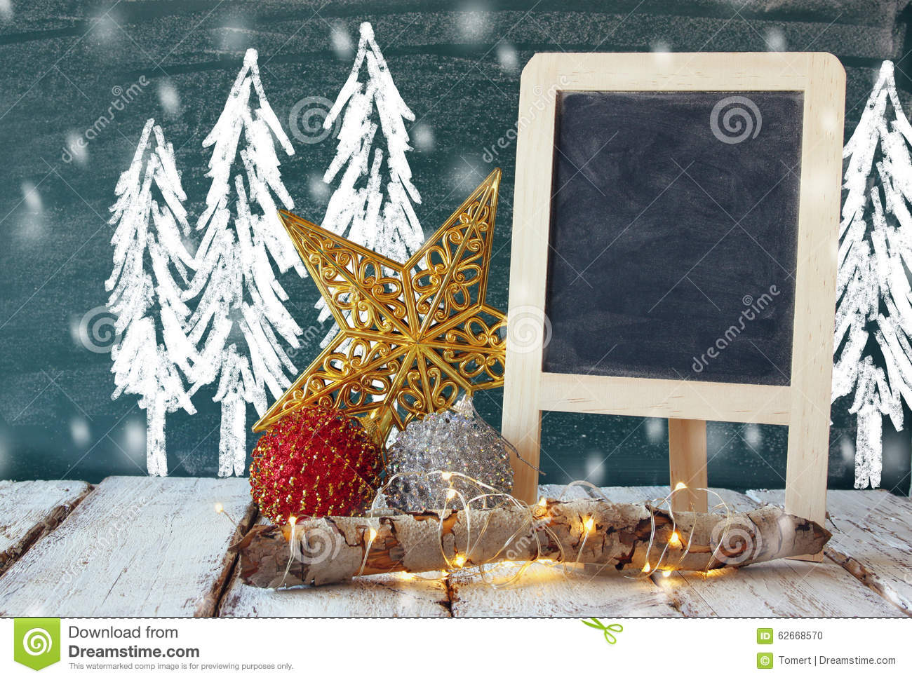 Image Of Christmas Decorations And Chalkboard Next To Blackboard
