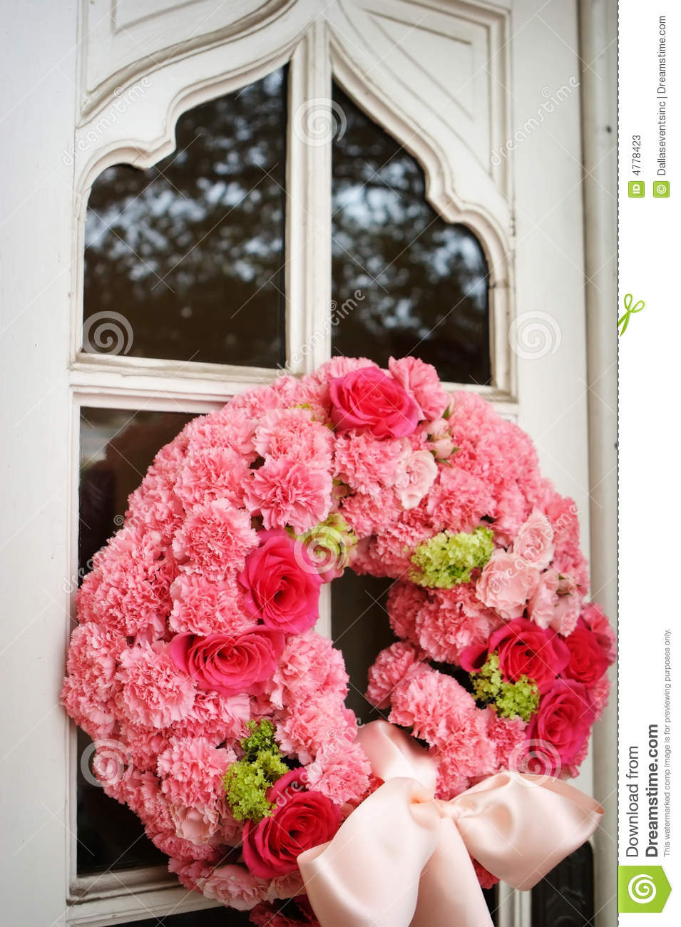 An Image Of Church Doors With Wedding Flowers On I Stock Image ...