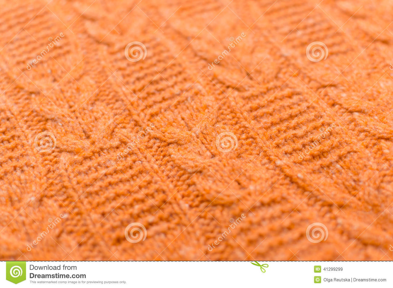 Image Of Closeup On Orange Beautiful Knitted Fabric Pattern Design ...