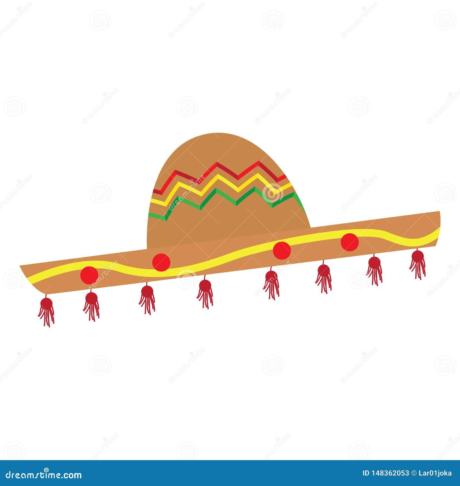 Image color?e traditionnelle d isolement de chapeau mexicain