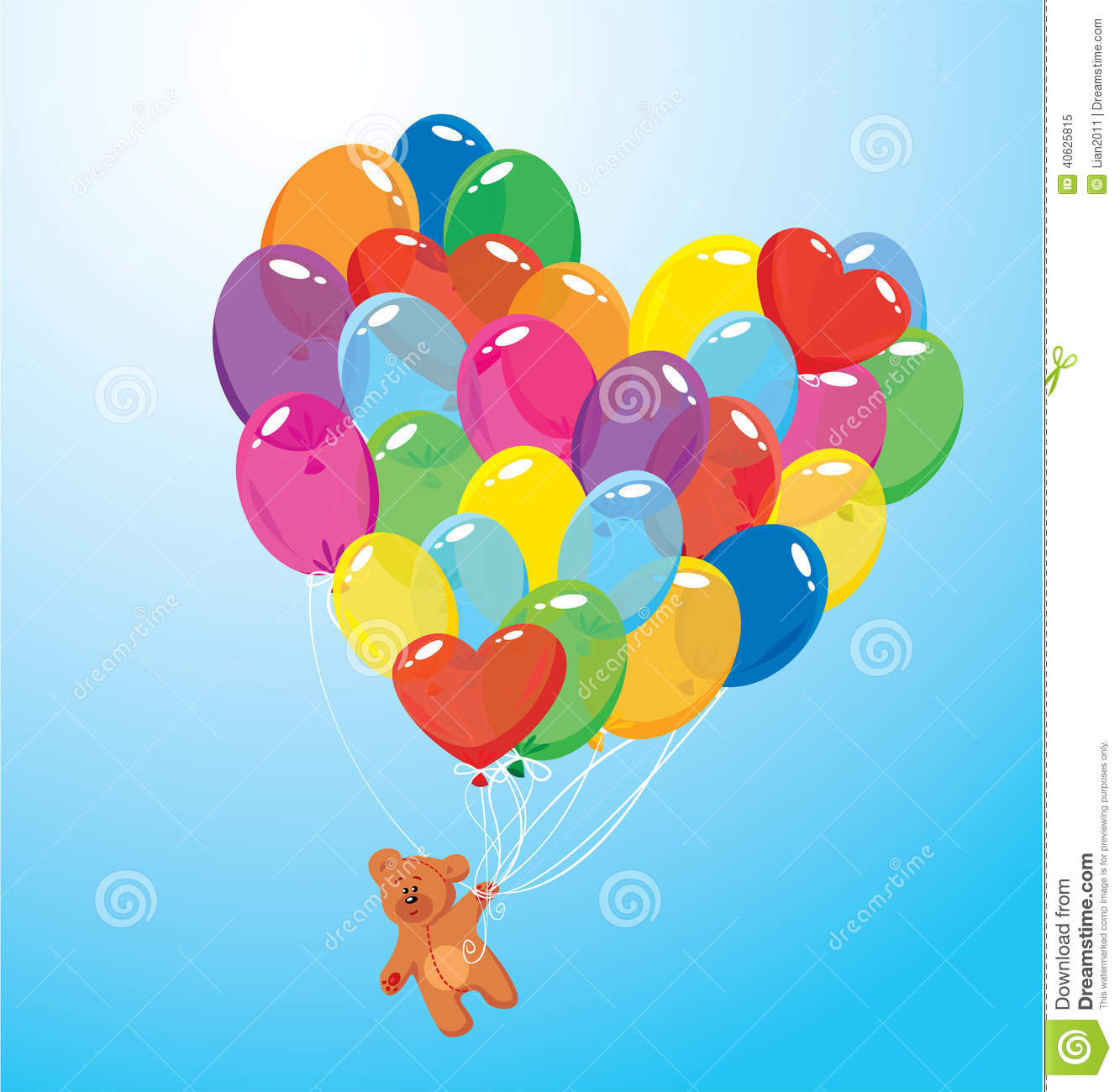 Image With Colorful Balloons In Heart Shape And Teddy Bear ... - photo#9