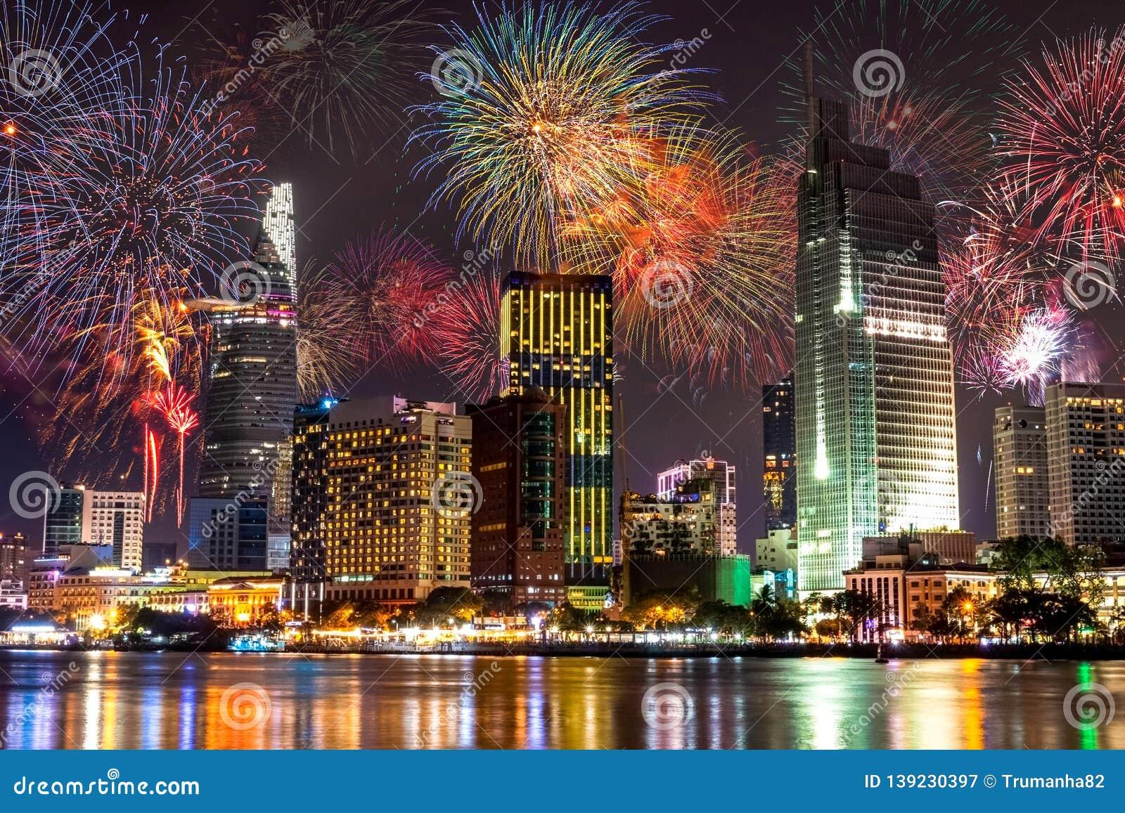 Fireworks Bursting in The City