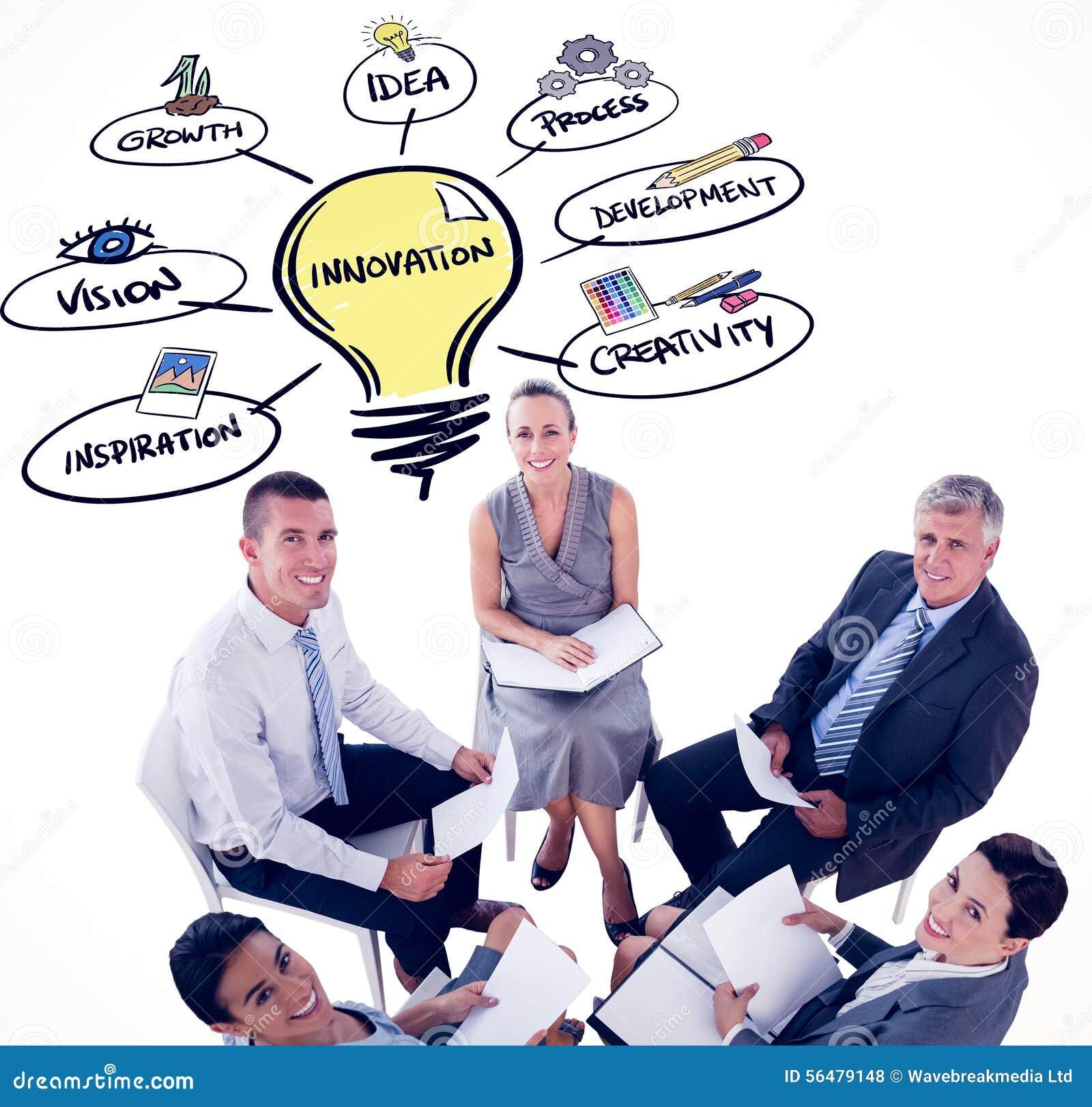 Image composée d équipe d affaires se reposant en cercle et discussion