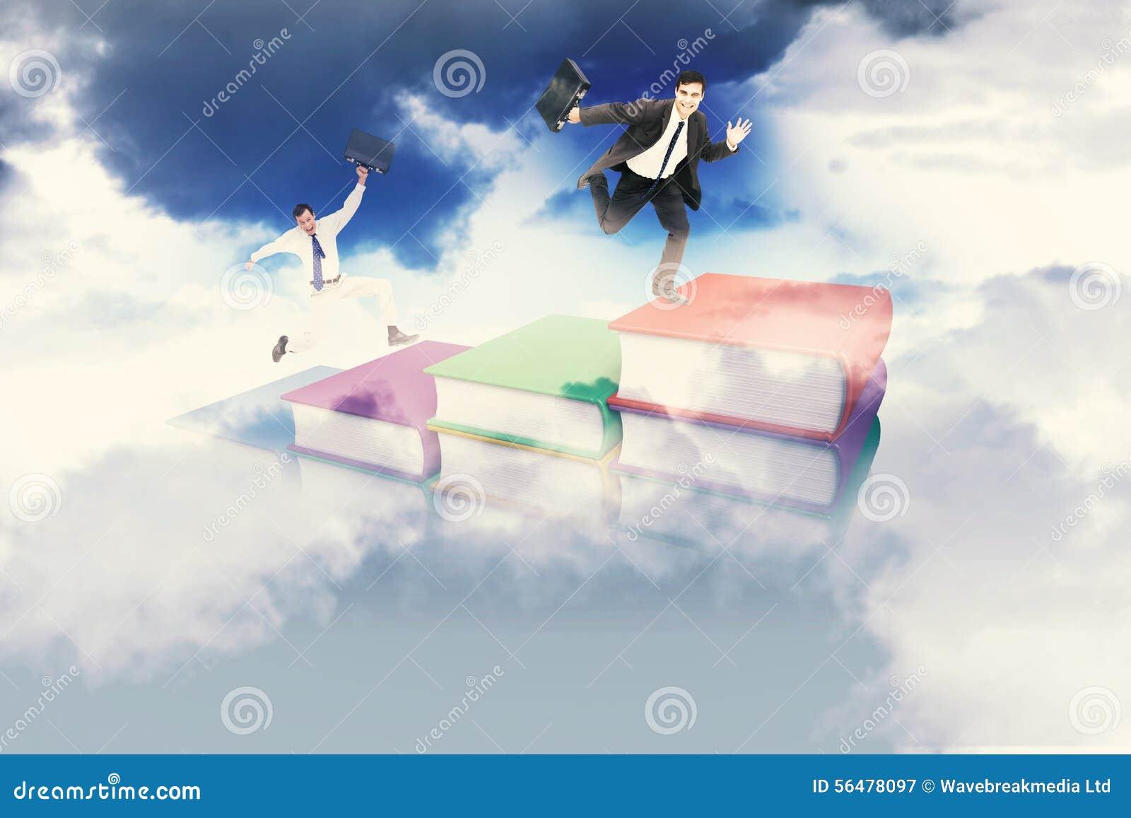 Image composée d homme d affaires sautant gai avec sa valise