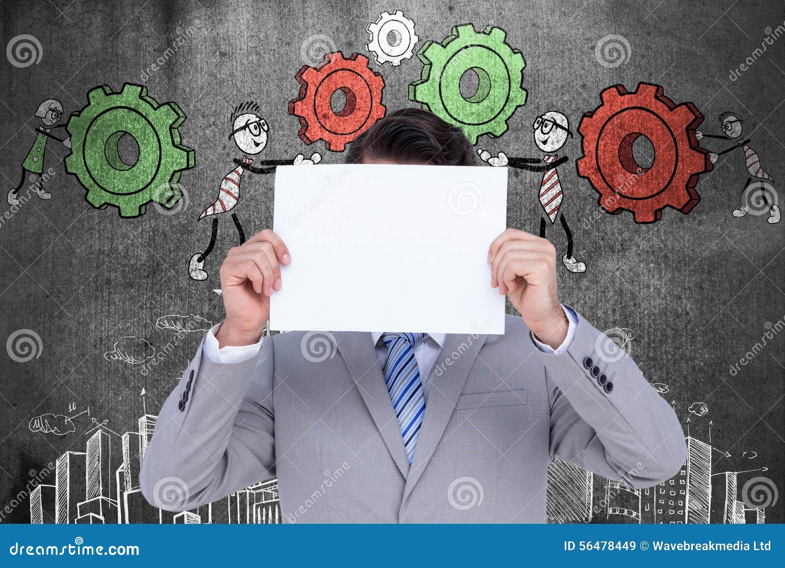 Image composée d homme d affaires tenant le signe vide devant sa tête