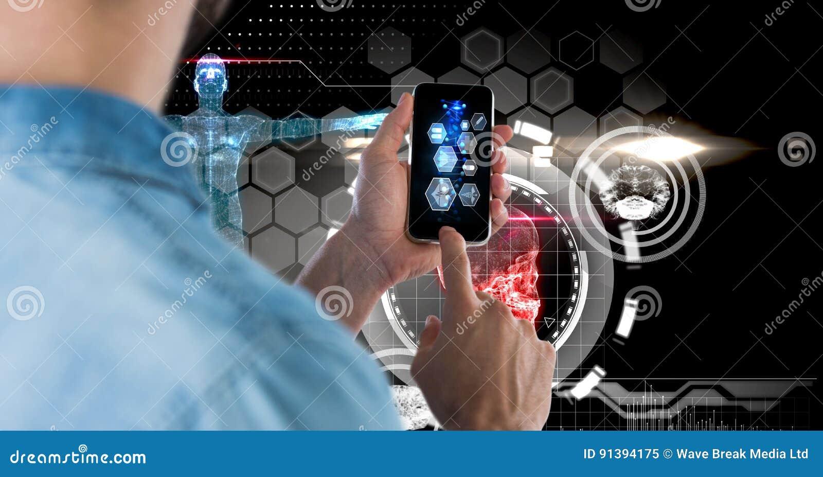 Image composée de Digital de l homme à l aide du téléphone intelligent avec des graphiques de technologie à l arrière-plan