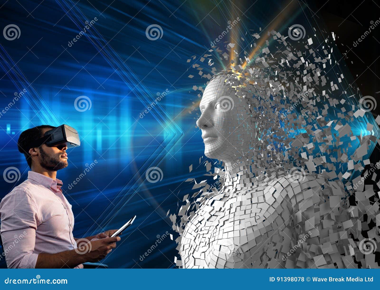 Image composée de Digital de l homme employant le comprimé numérique et les verres de VR par l humain 3d