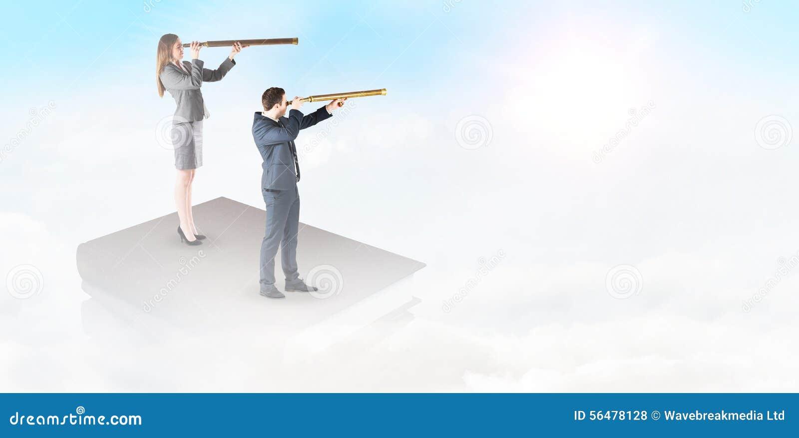 Image composée de femme d affaires regardant par un télescope