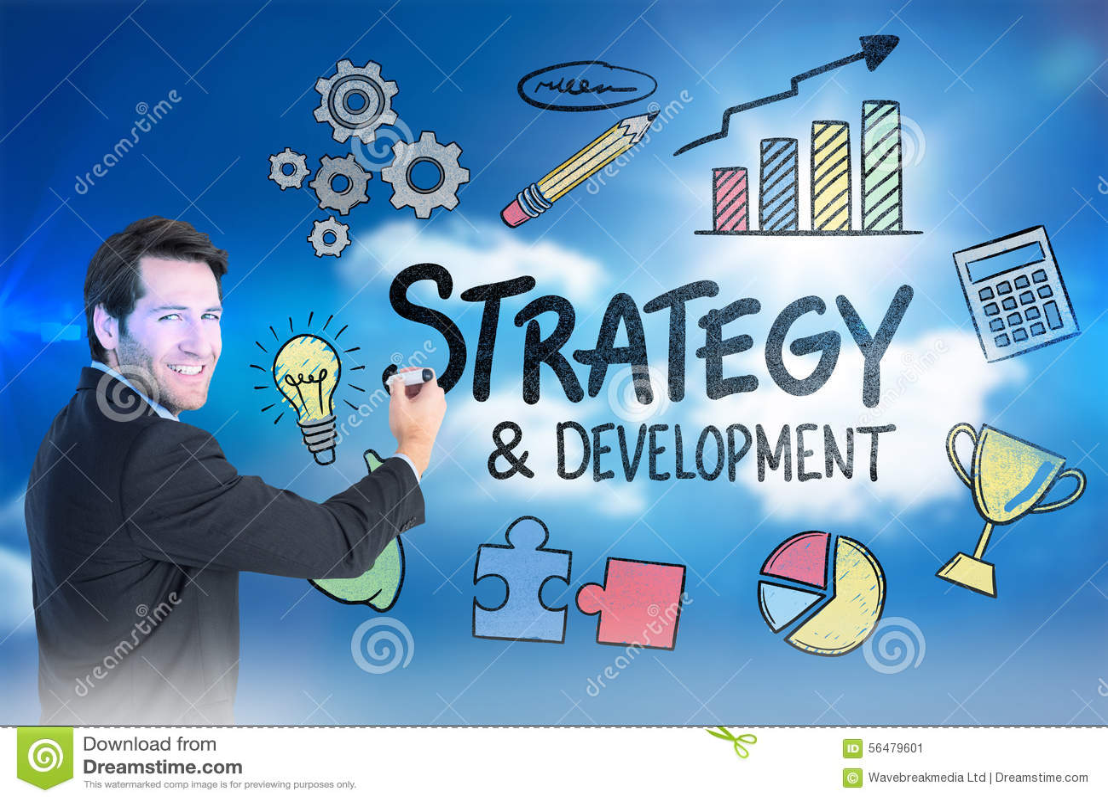 Image composée de l écriture d homme d affaires avec le marqueur tout en regardant l appareil-photo