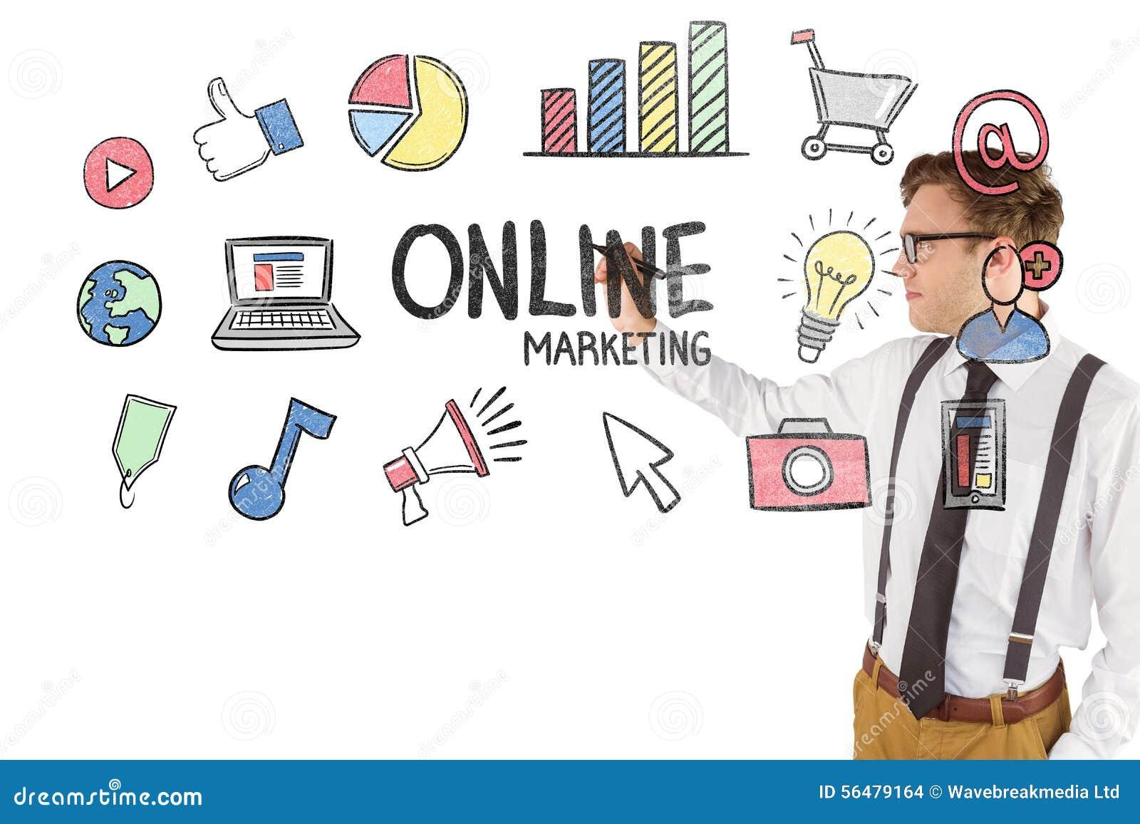 Image composée de l écriture geeky d homme d affaires avec le marqueur