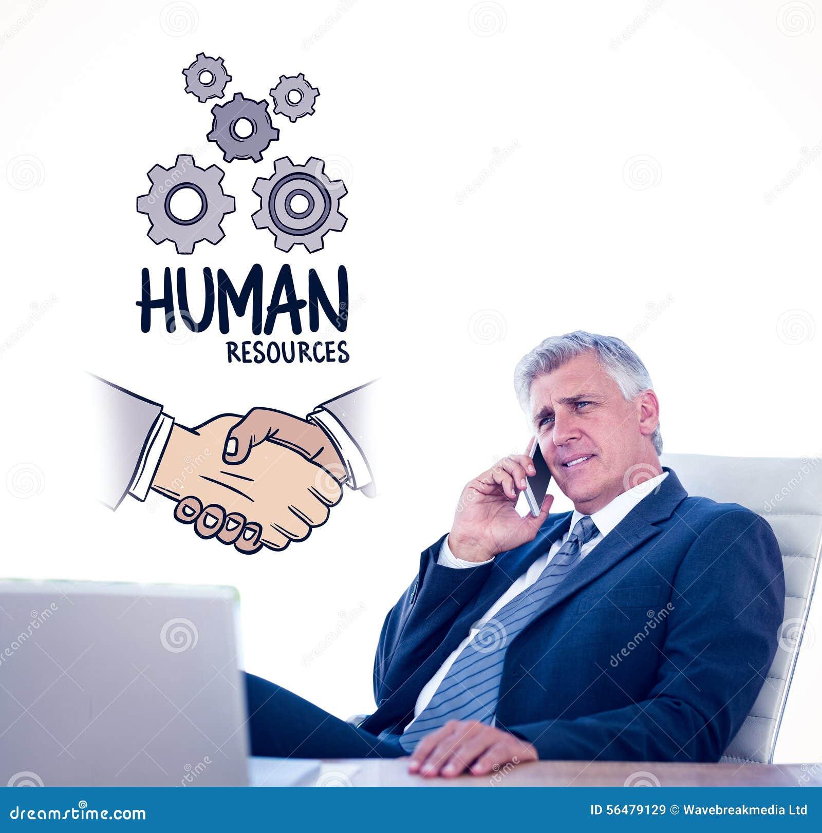 Image composée de l homme d affaires ayant un appel téléphonique
