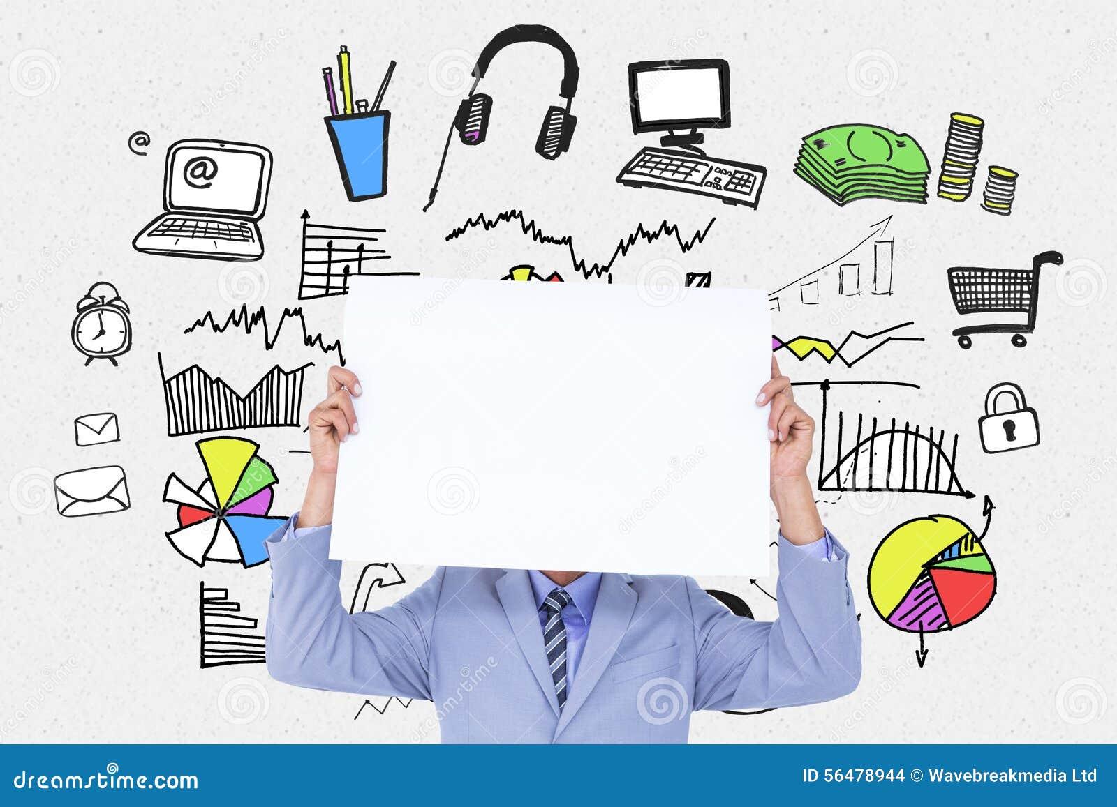 Image composée de portrait d un homme d affaires cachant son visage derrière un panneau vide