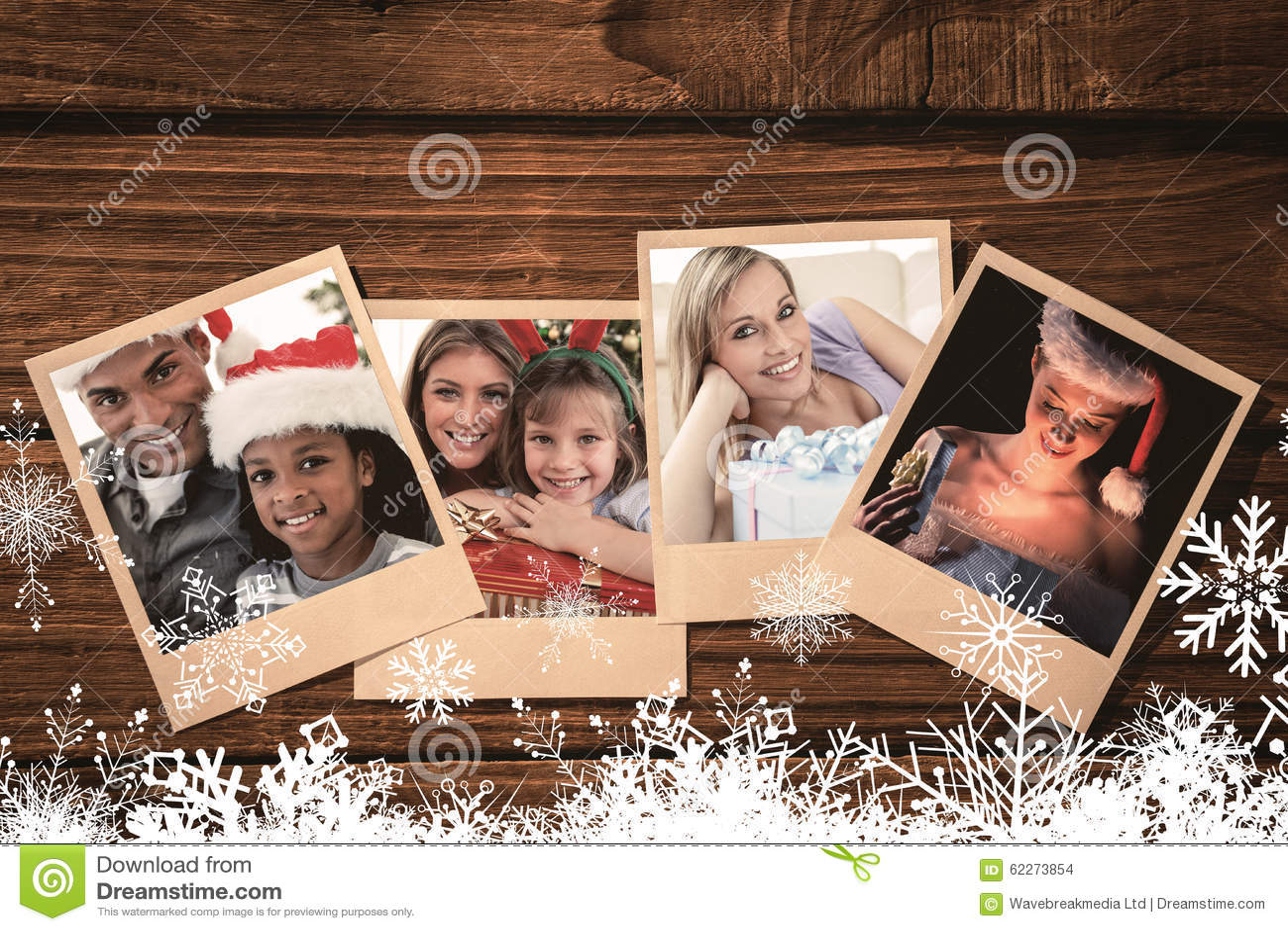 Image composée de portrait d un père et d un fils tenant un cadeau de Noël