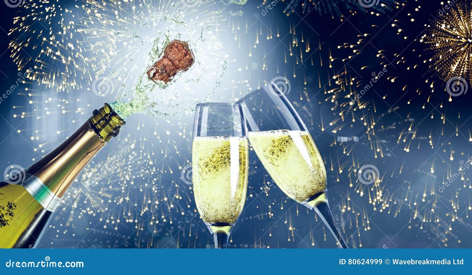 Image composée de sauter de champagne