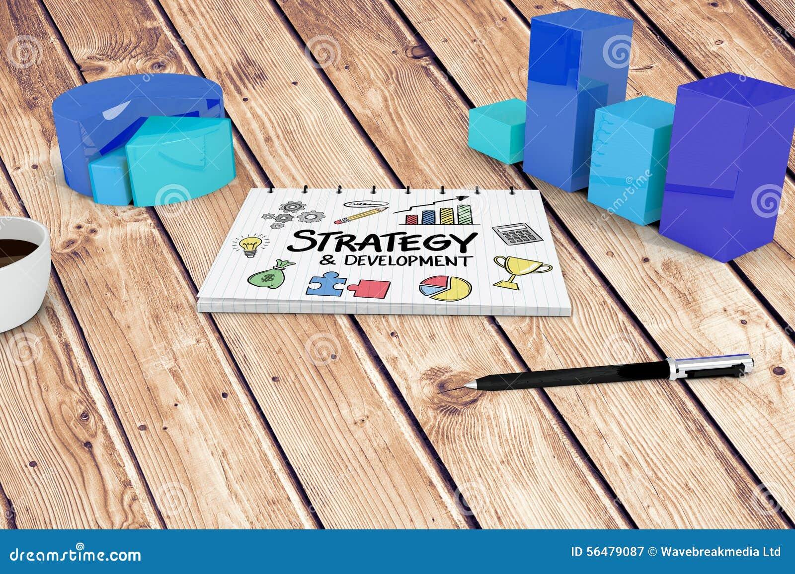 Image composée de stratégie et de griffonnage de développement