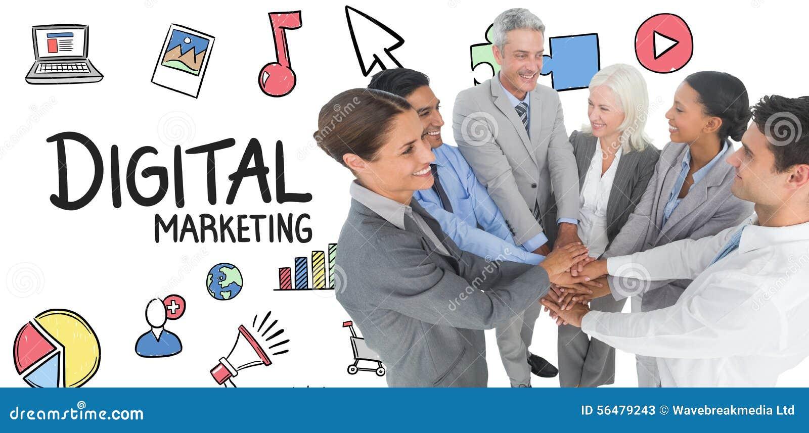 Image composée des cadres tenant des mains ensemble dans le bureau