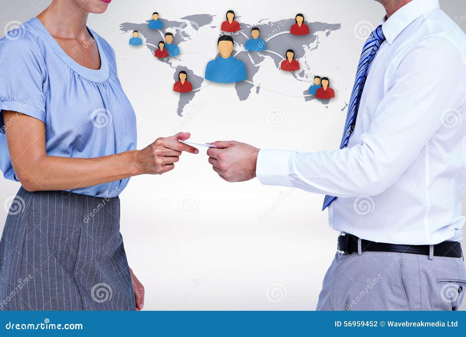 Image composée des gens d affaires d échange de carte de visite professionnelle de visite