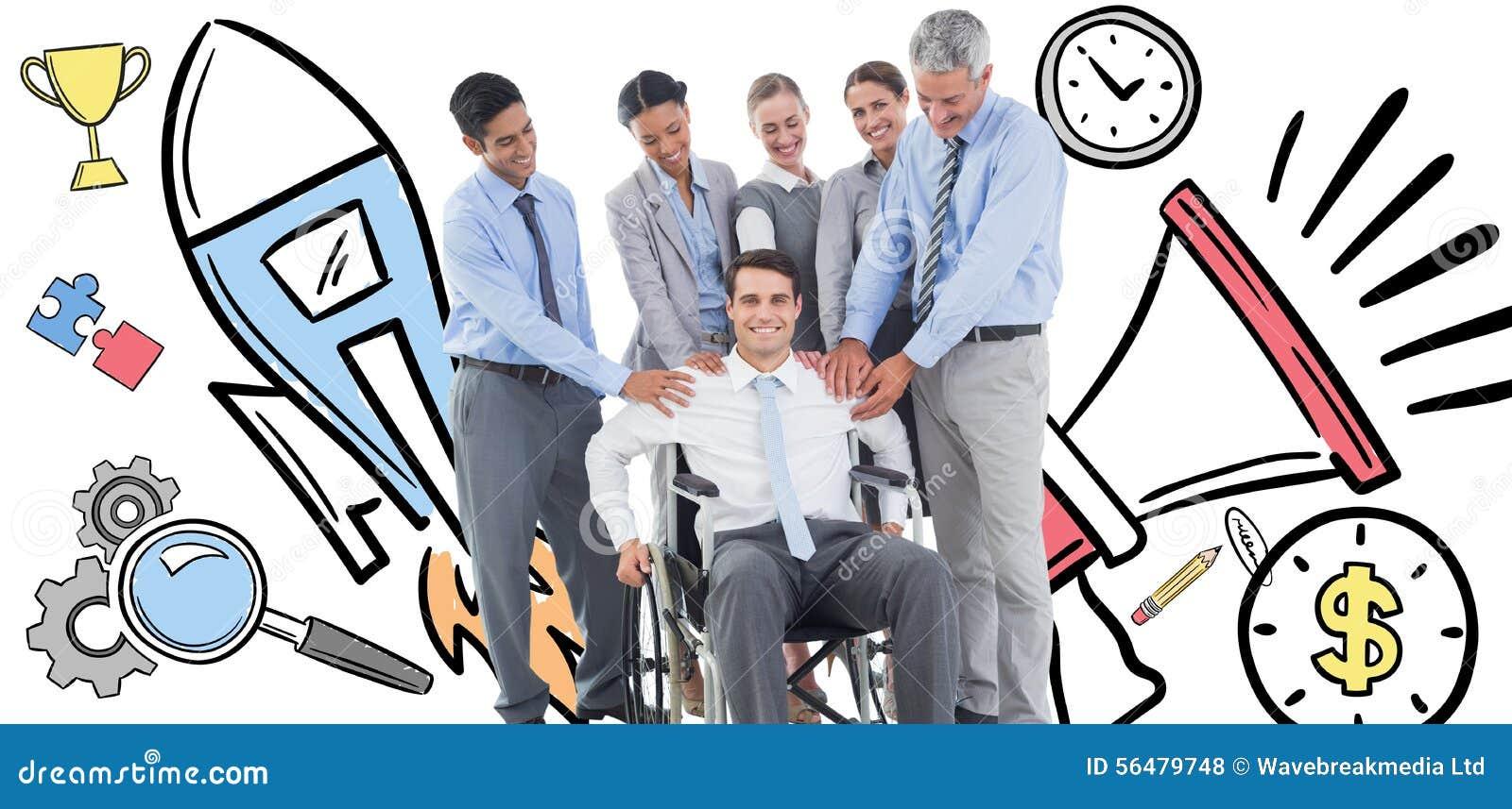 Image composée des gens d affaires soutenant leur collègue dans le fauteuil roulant
