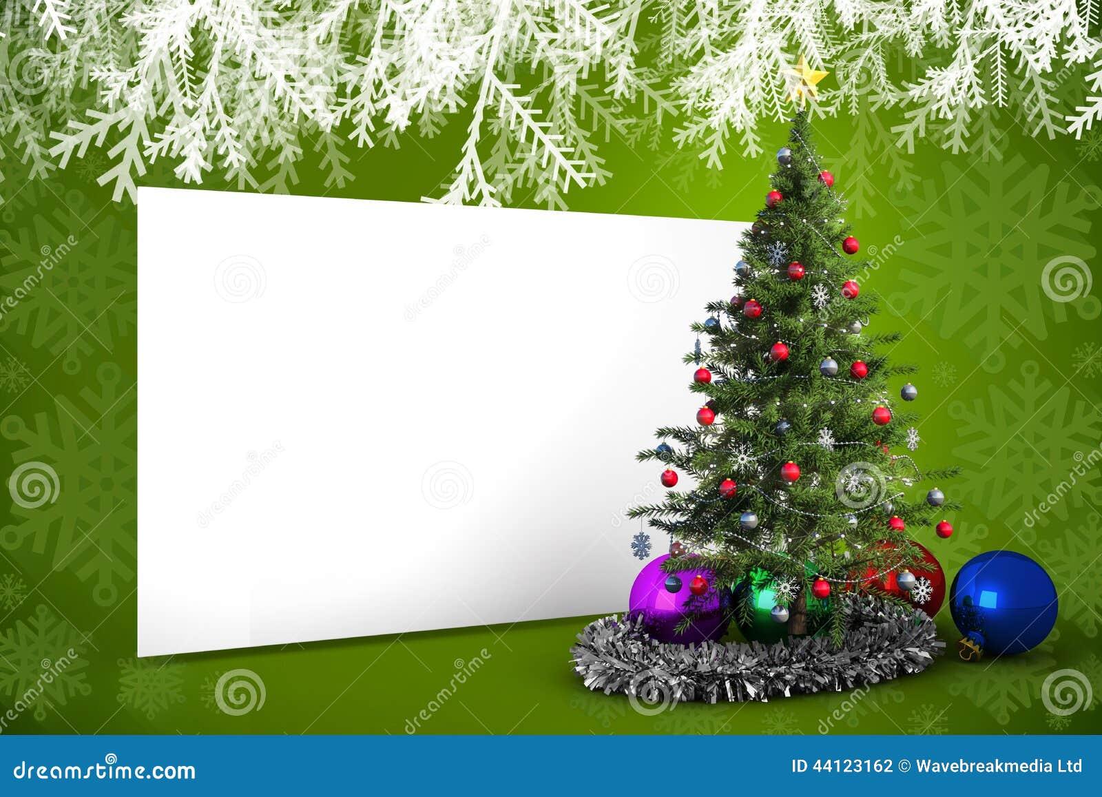 image compos e d 39 affiche avec l 39 arbre de no l illustration. Black Bedroom Furniture Sets. Home Design Ideas