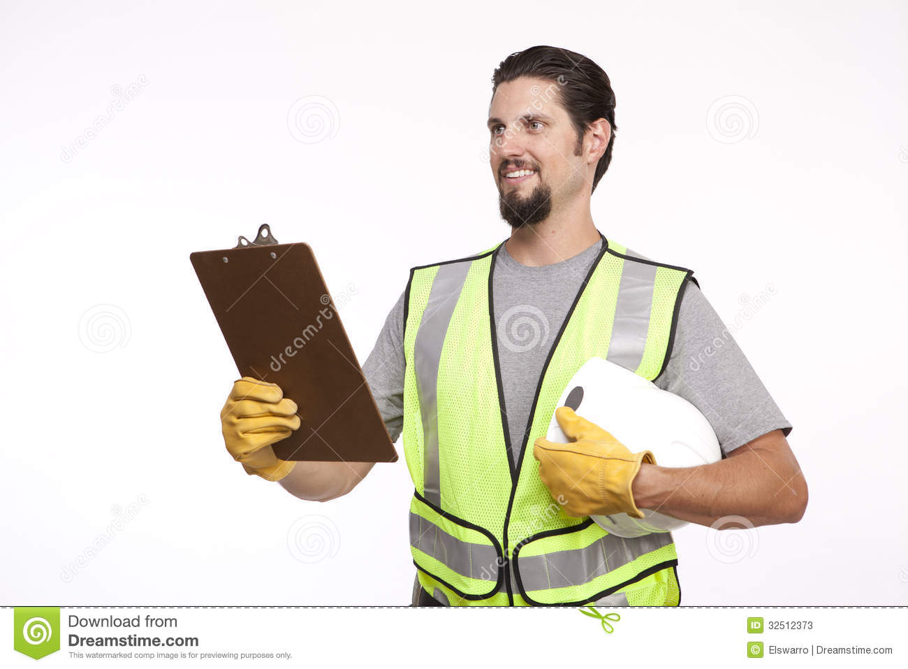 Image of a construction worker with a clipboard and hardhat