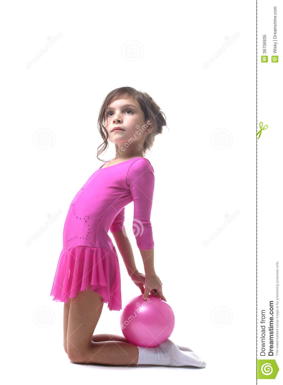 Image Of Cute Little Gymnast Posing With Ball Royalty Free Stock Photo ...