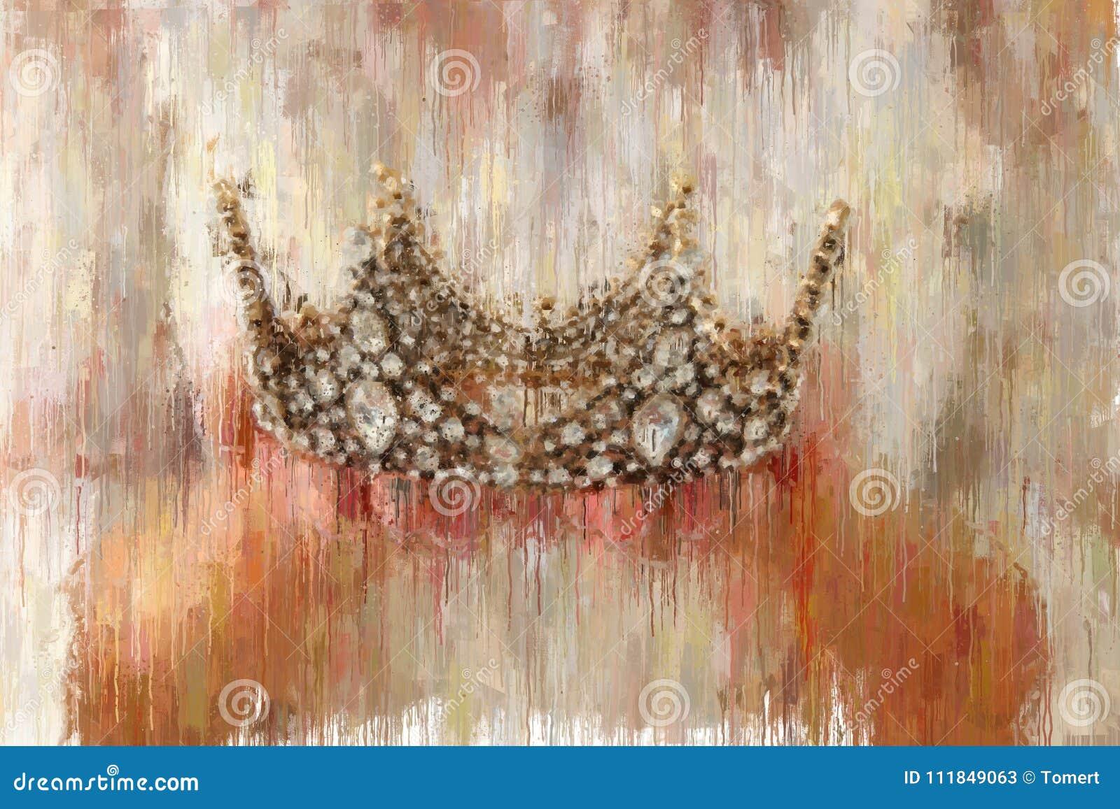 Image d abrégé sur style de peinture à l huile de dame avec la robe blanche tenant la couronne d or période médiévale d imaginati