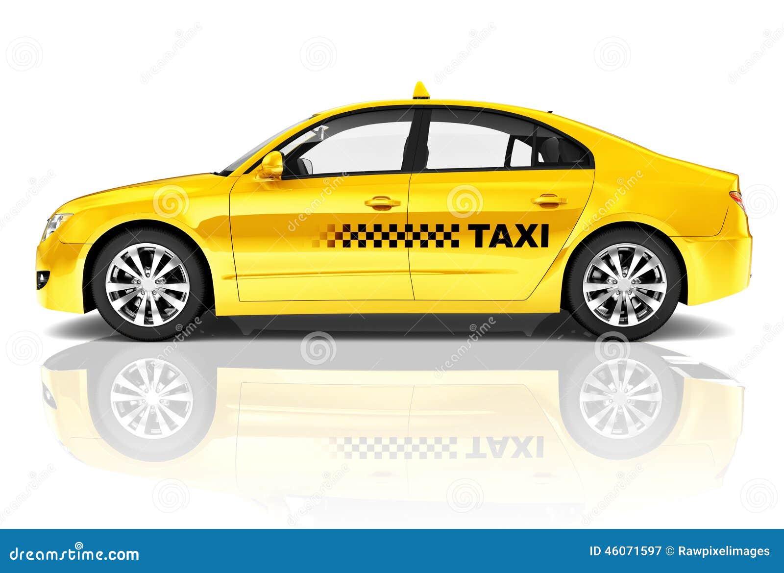 image 3d de voiture de taxi de berline de jaune de vue de c t photo stock image 46071597. Black Bedroom Furniture Sets. Home Design Ideas