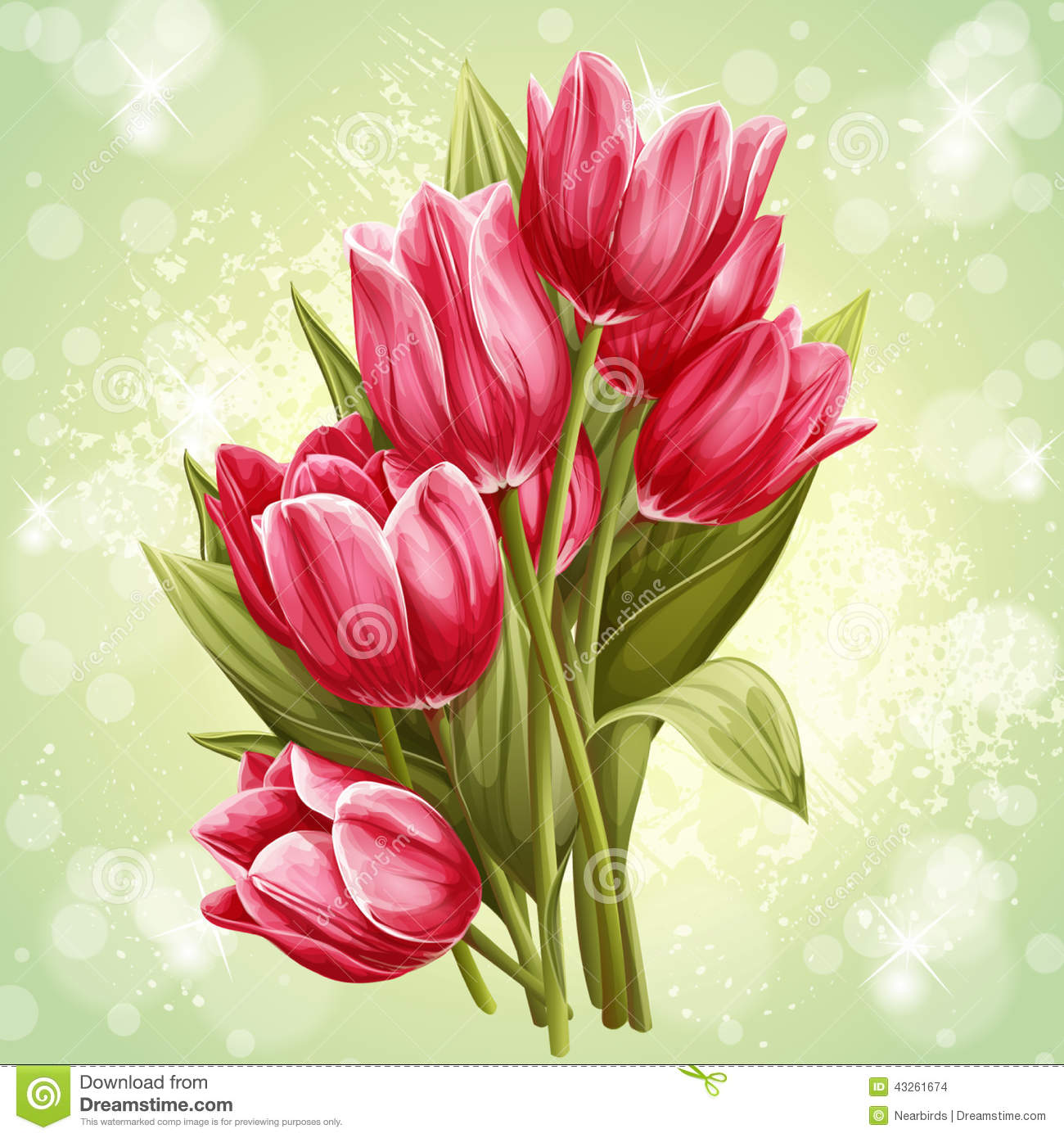 Image d 39 un bouquet des fleurs des tulipes roses for Bouquet de tulipes