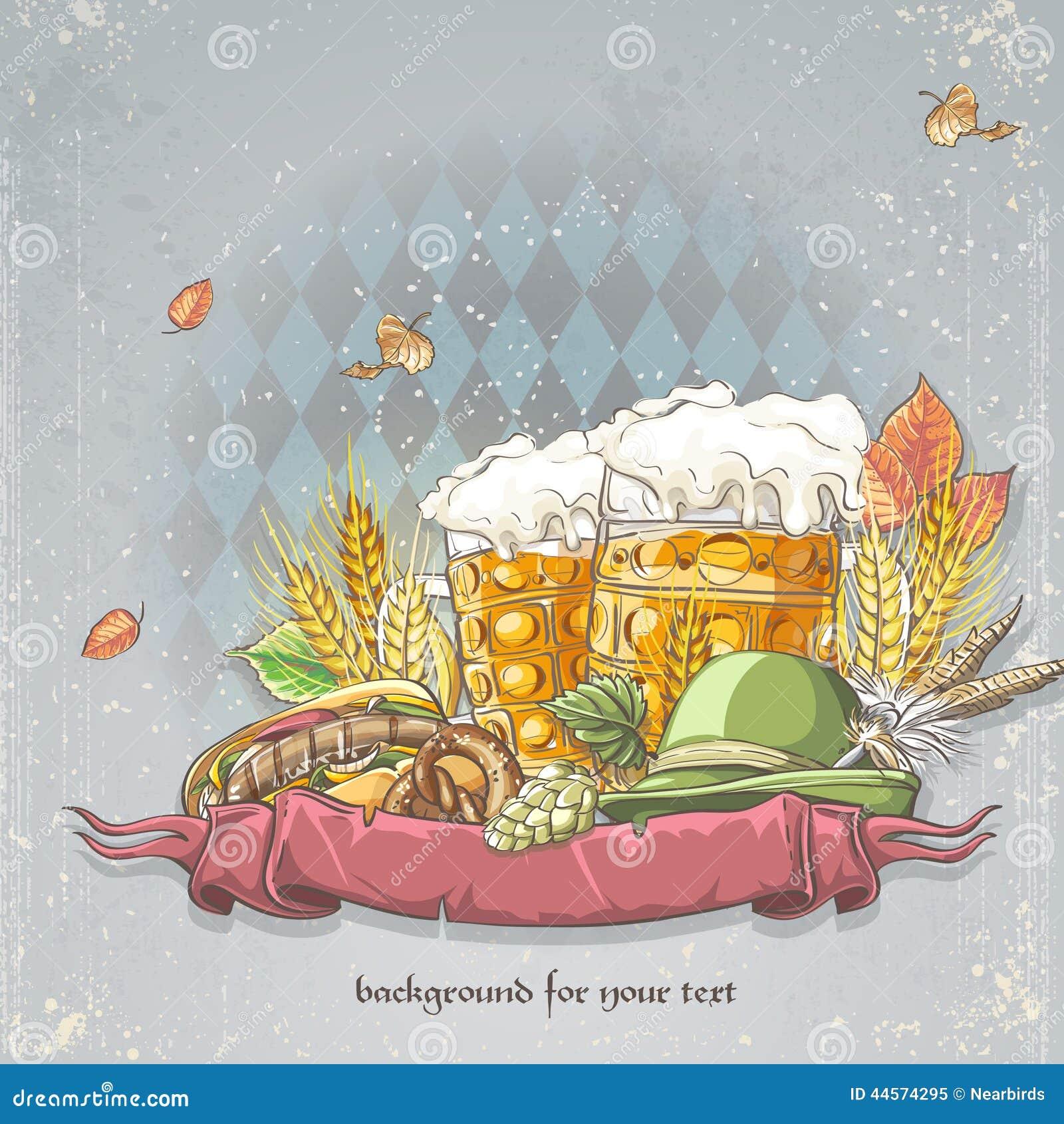 Image d un fond de célébration oktoubest les chopes en grès de la bière, des houblon, des cônes et des feuilles d automne
