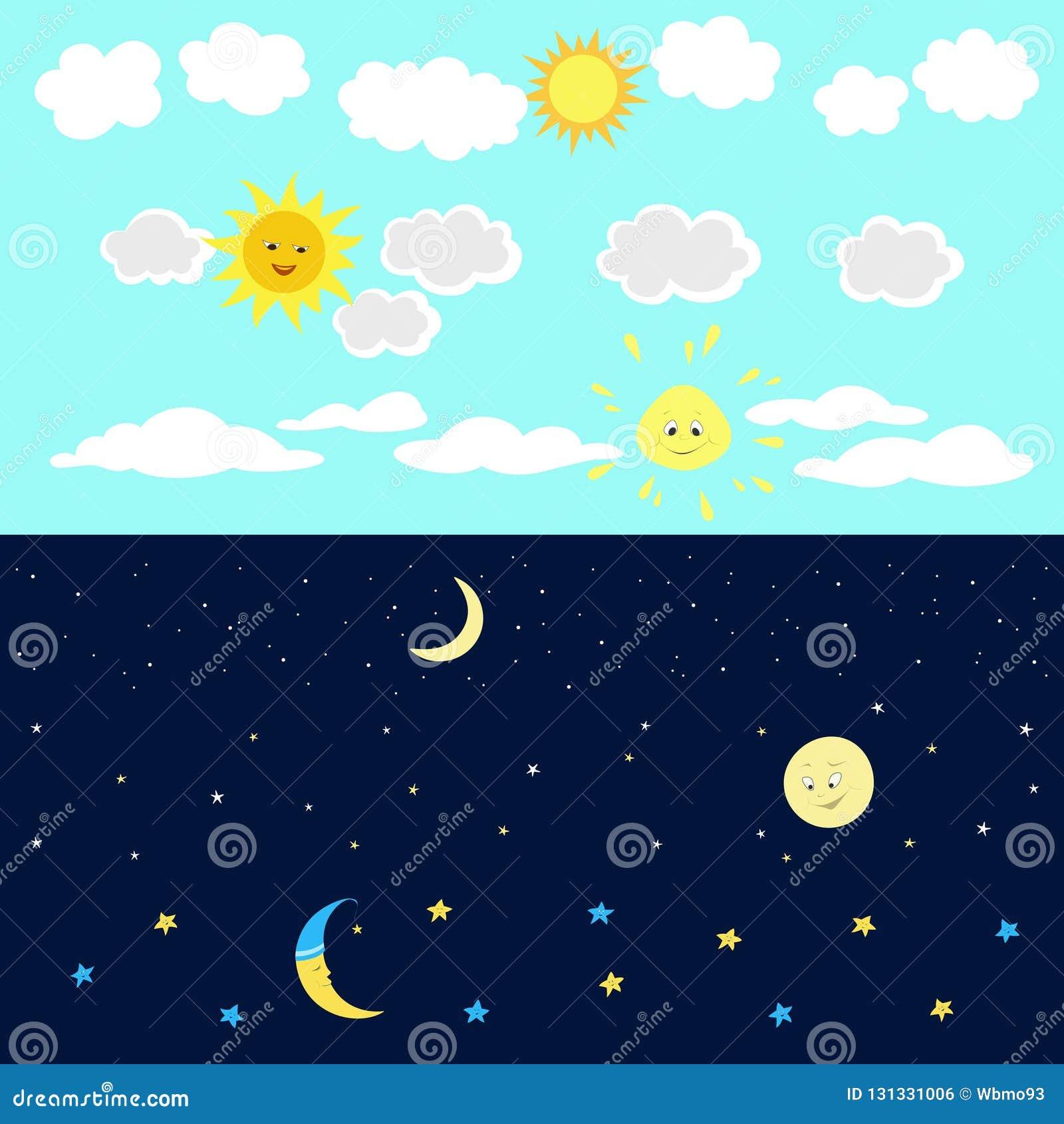 Image de bande dessinée de ciel nocturne de jour
