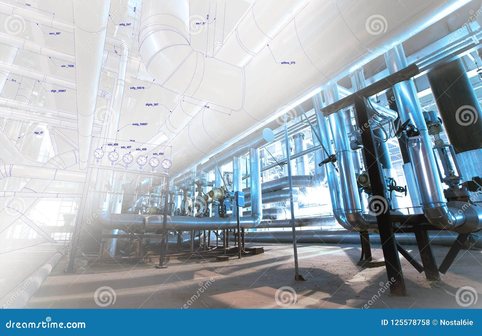 Image de concept de construction de DAO d ordinateur de Wireframe tuyauterie industrielle i
