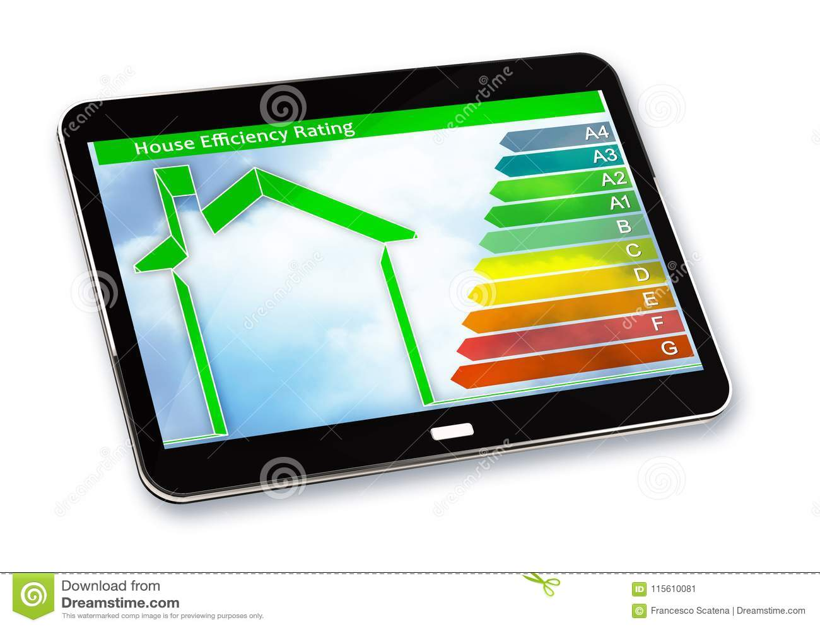 Image de concept de rendement énergétique de bâtiments 3D rendent d un digita