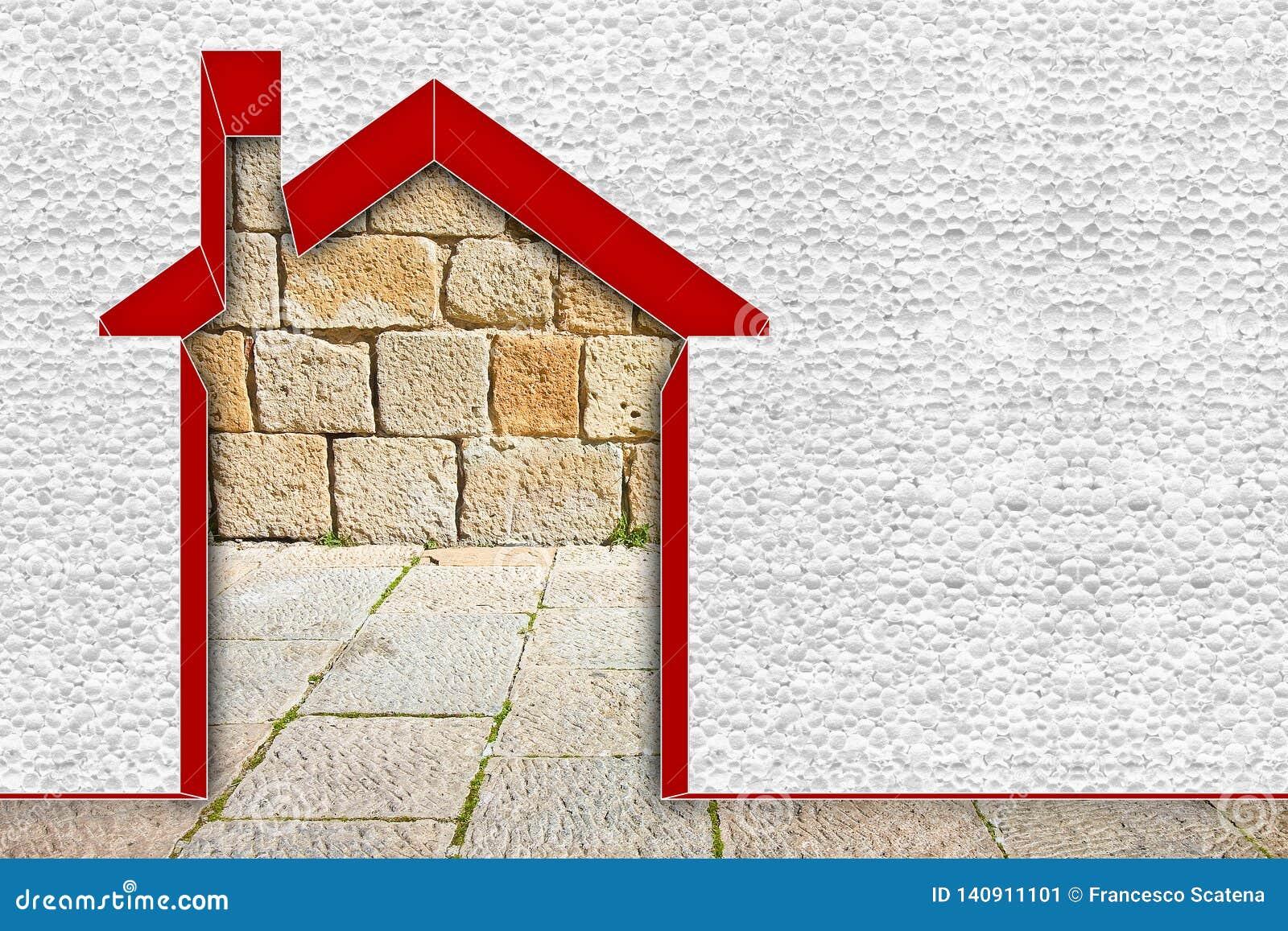Image de concept de rendement énergétique de bâtiments - 3D rendre à la maison thermiquement isolé avec des murs de polystyrène