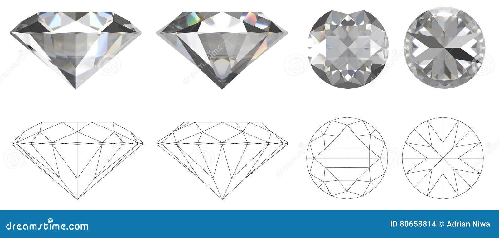 Image de diamant de quatre c t s avec le dessin technique - Diamant dessin ...