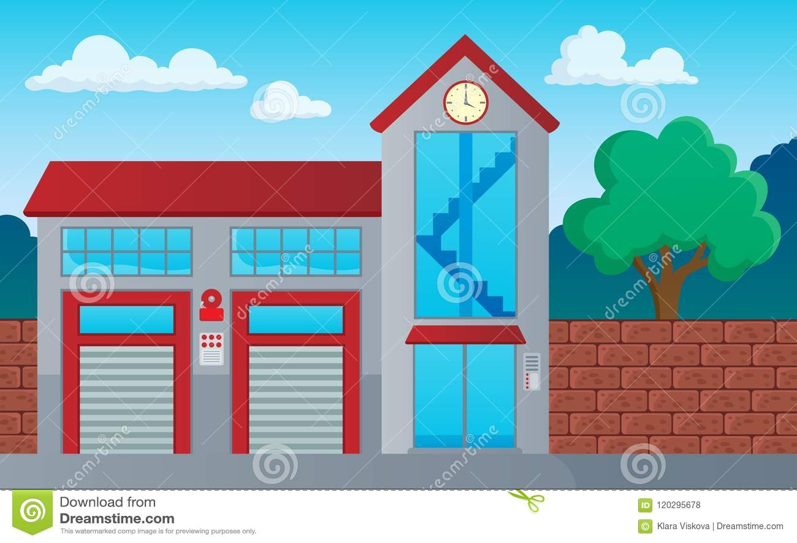 Image 1 de thème de bâtiment de corps de sapeurs-pompiers