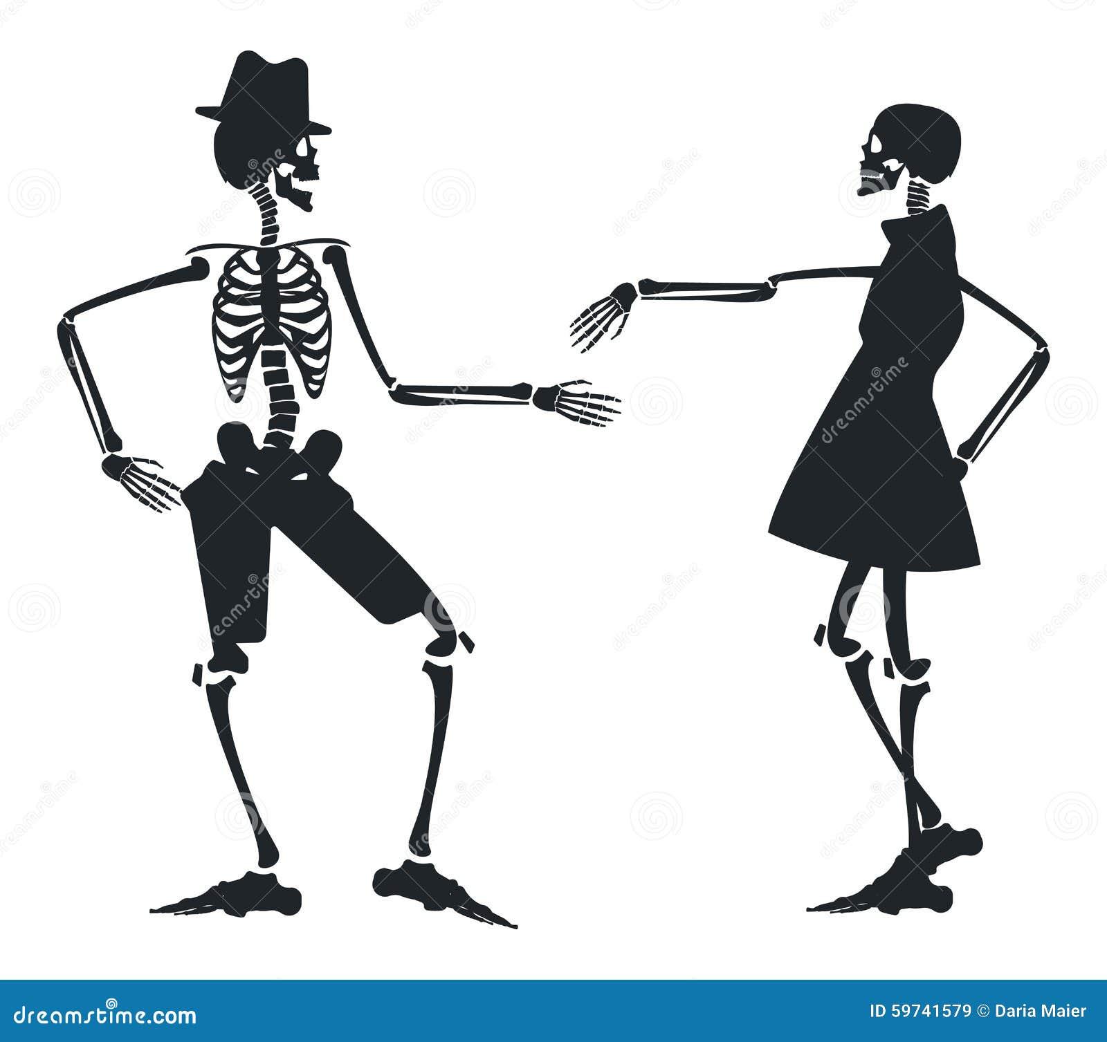 Image De Vecteur Avec La Silhouette Deux Du Squelette Illustration de Vecteur - Illustration du ...