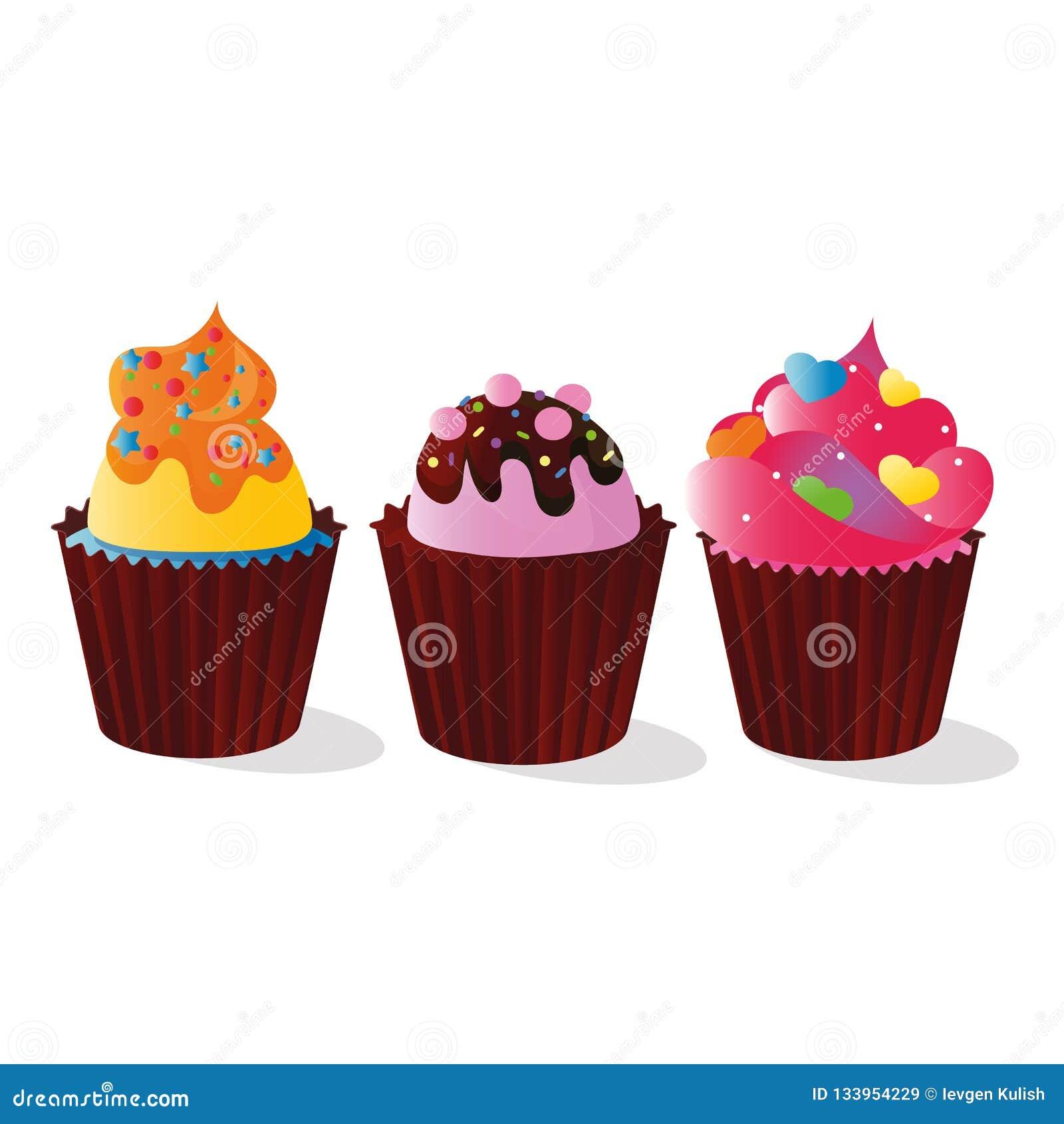 Image de vecteur des petits pains décorés de la sucrerie pour la décoration, d une crème et d un chocolat multicolores et colorés