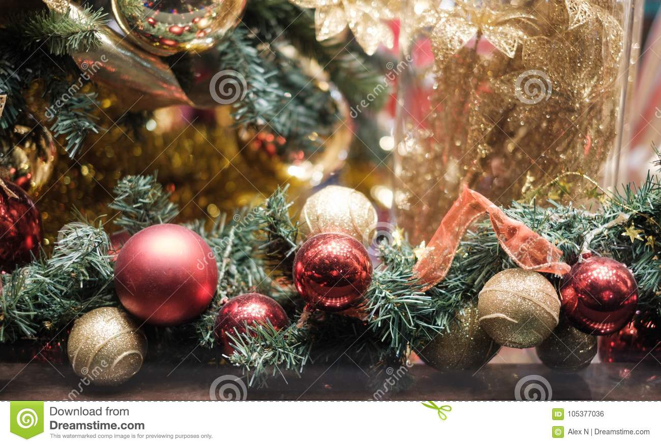 Image Of Decorated Christmas Tree With Red And Gold Ornaments Stock