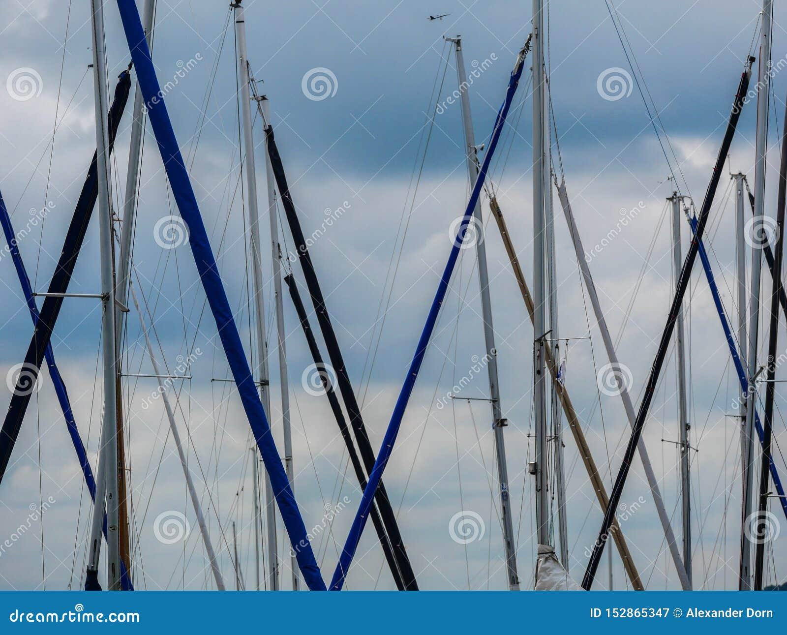 Image des plusieurs mât de bateau dans le ciel
