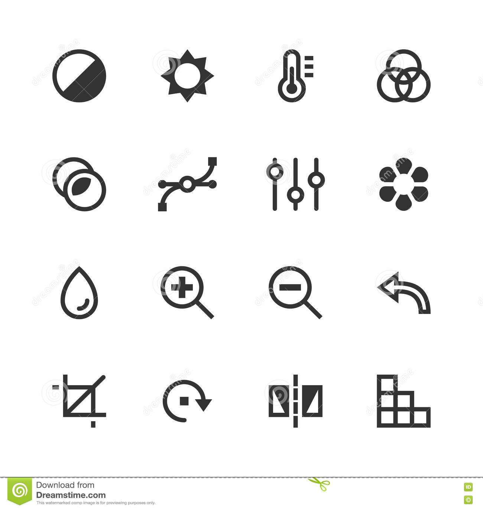 Image Editing Vector Icons Contrast Brightness Hue