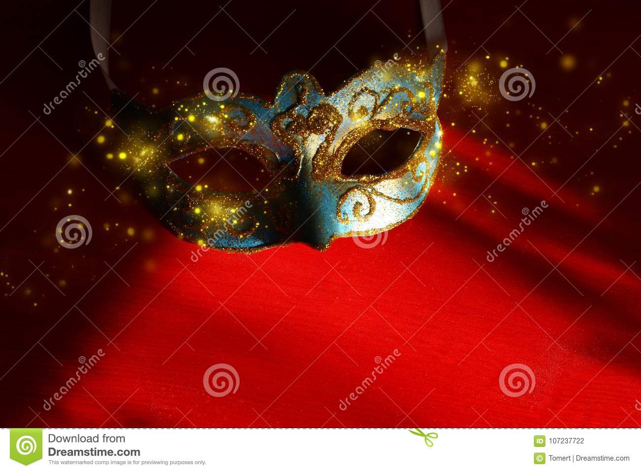 Image Of Elegant Blue And Gold Venetian, Mardi Gras Mask Over Red ...