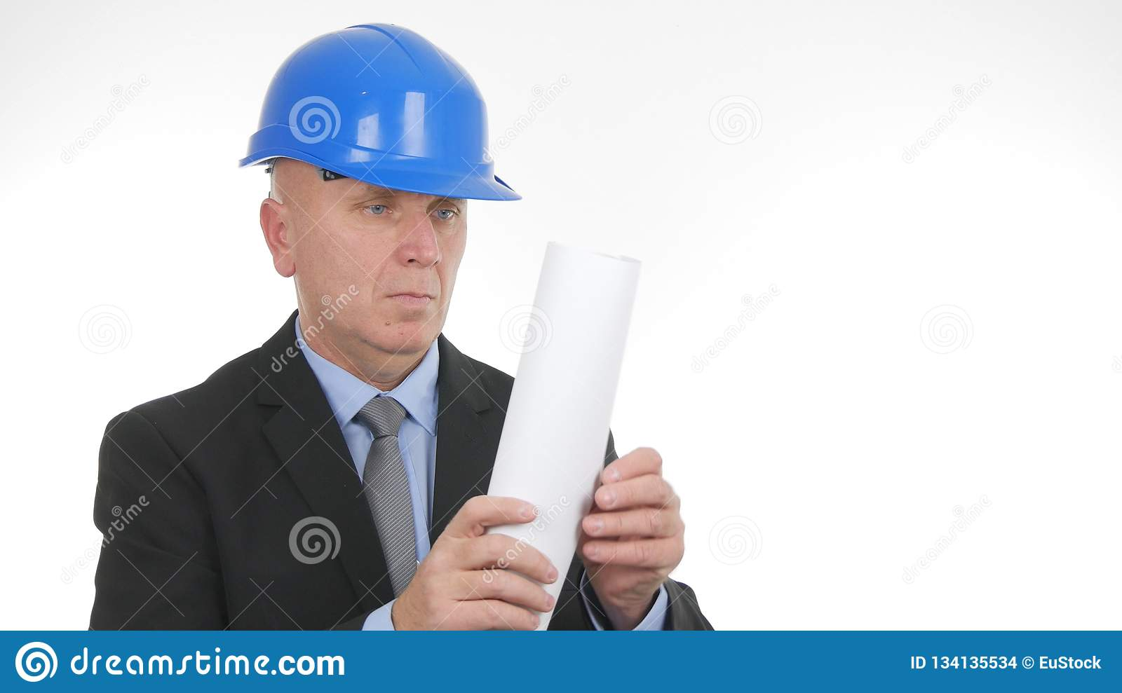 Engineer Image Checking Architect Paper Plans