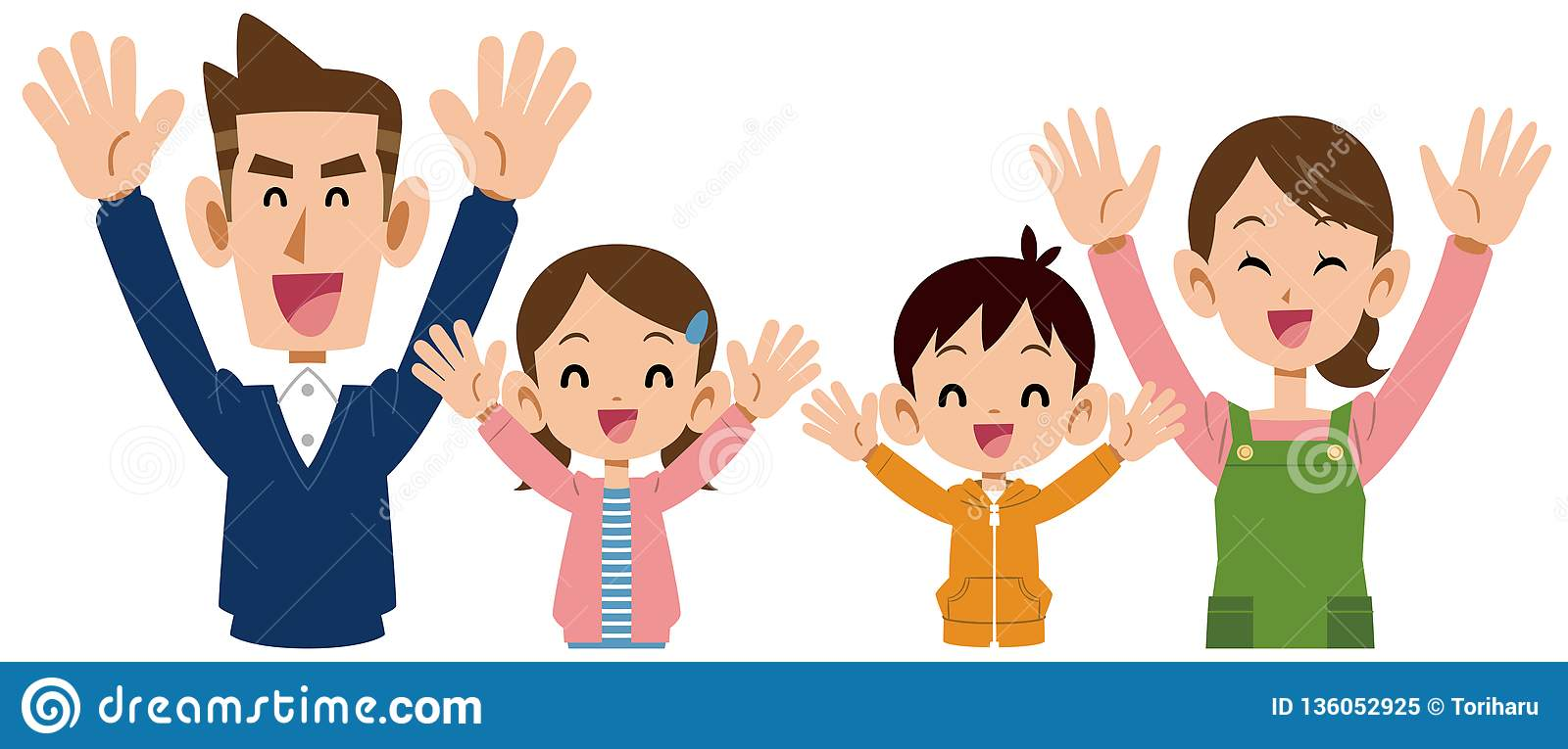 A Family Member Who Is Delighted 4 People Stock Vector Illustration Of People Happy 136052925