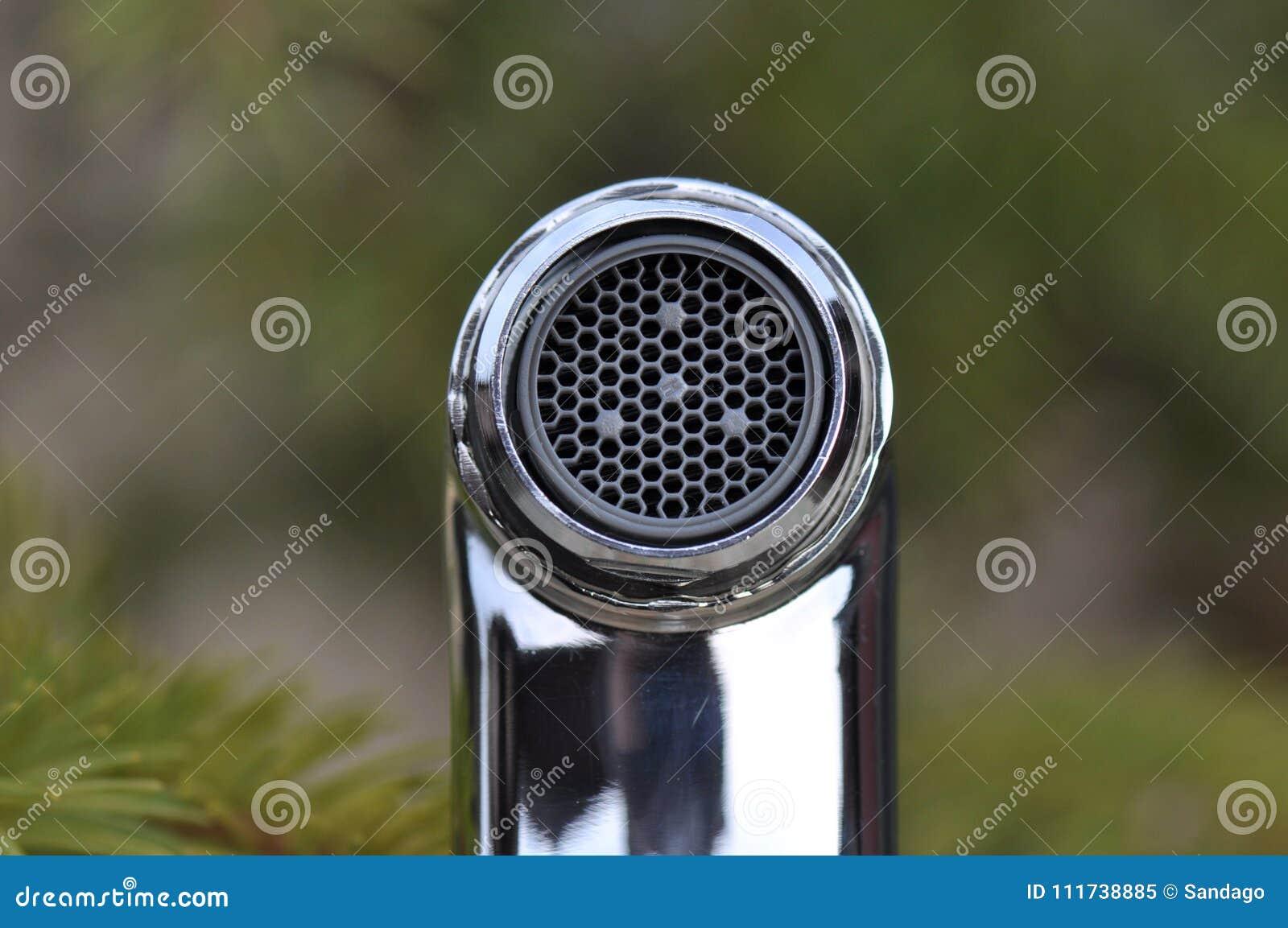 Chrome faucet detail
