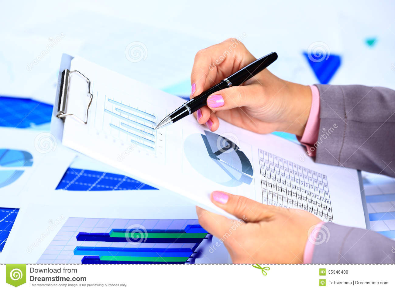 Image Of Female Hand Pointing At Business Document During Royalty – Business Document