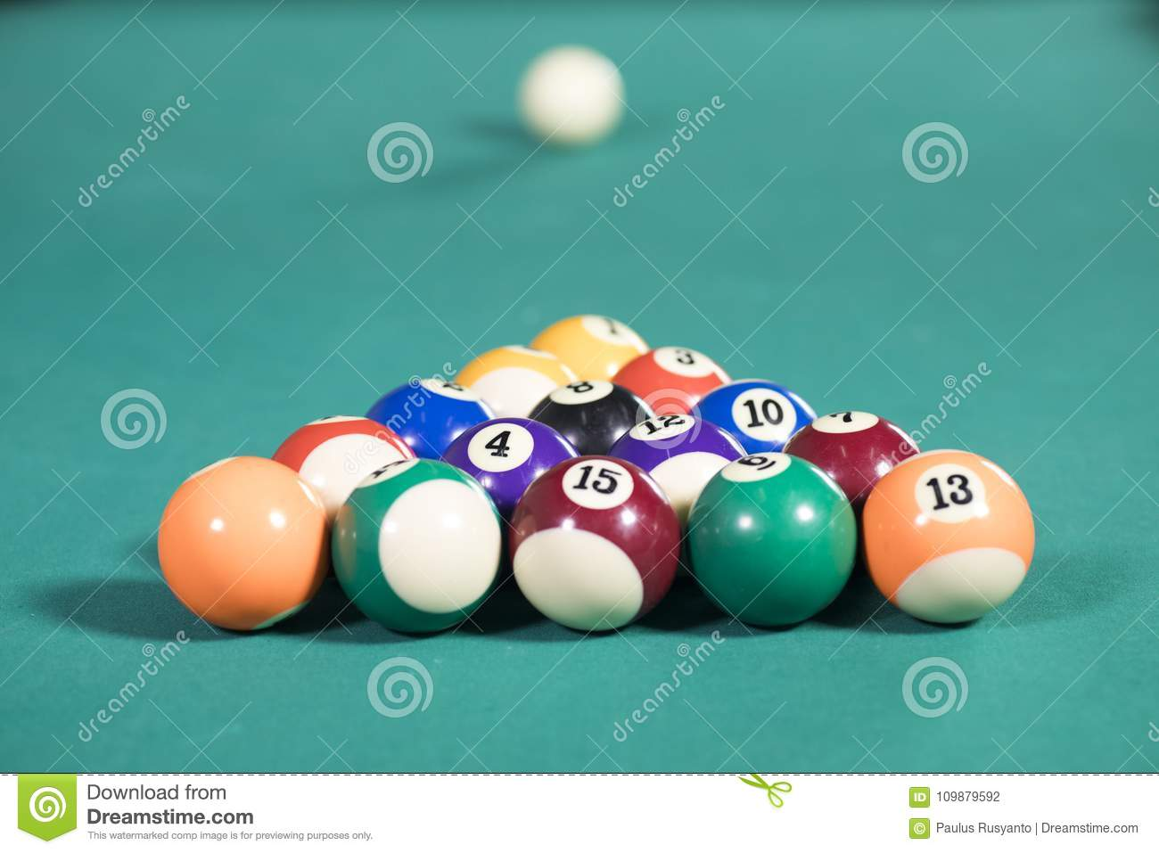 Fifteen Billiard Balls On The Pool Table Stock Photo Image Of Game - Games to play on a pool table