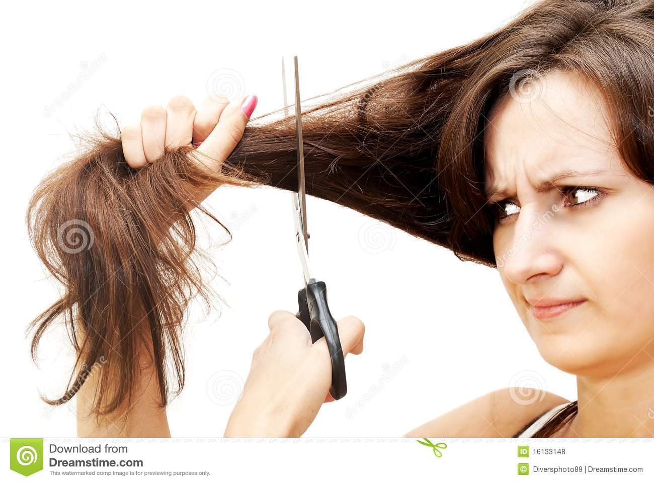 The image of a girl who cuts her hair